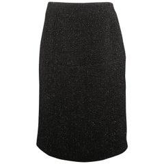 GUNEX for BERGDORF GOODMAN Size 8 Black Metallic Tweed A Line Skirt