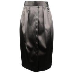 DOLCE & GABBANA Size 4 Gray Stretch Satin Darted Pencil Skirt