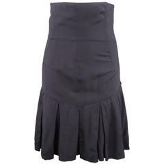 JOHN GALLIANO Size 10 Navy High Rise Corset Pleated Mini Skirt