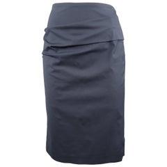 BRUNELLO CUCINELLI Size 6 Navy Stretch Cotton Asymmetrial Drape Pencil Skirt