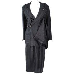 YOHJI YAMAMOTO Black Linen 2pc Draped Jacket & Pants Suit Size S M