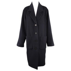 TSE Size M Navy Cashmere Single Breasted Notch Lapel Patch Pocket Coat