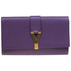 Saint Laurent Paris Purple Leather Large Chyc Clutch