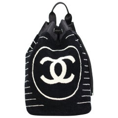 Chanel Dark Navy Blue Striped CC Logo Drawstring Large Beach Tote Bag Vintage