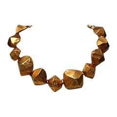 Hermes Vintage Gold Plated Necklace Choker 1970s