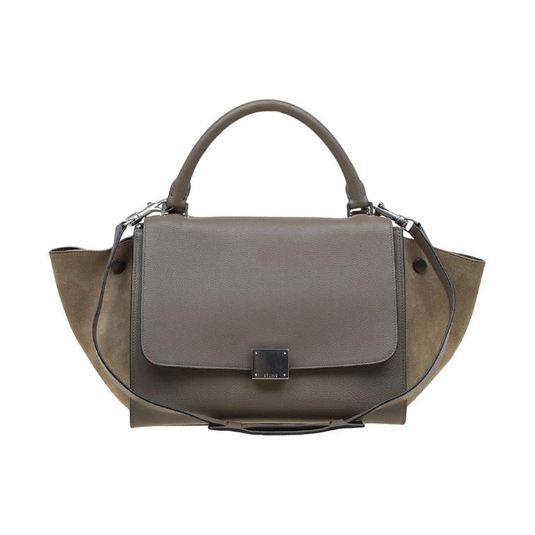 Celine Beige Leather And Suede Small Tze Bag For