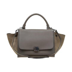 Celine Beige Leather and Suede Small Trapeze Bag