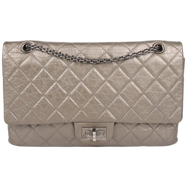 cf4ff0d23c561b Chanel Reissue 2.55 Timeless Double Flap Bag 227 - metallic green bronze  For Sale