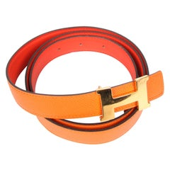 Hermes Reversible H Belt - orange/coral red