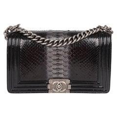 Chanel Le Boy Bag Python Leather Medium - black