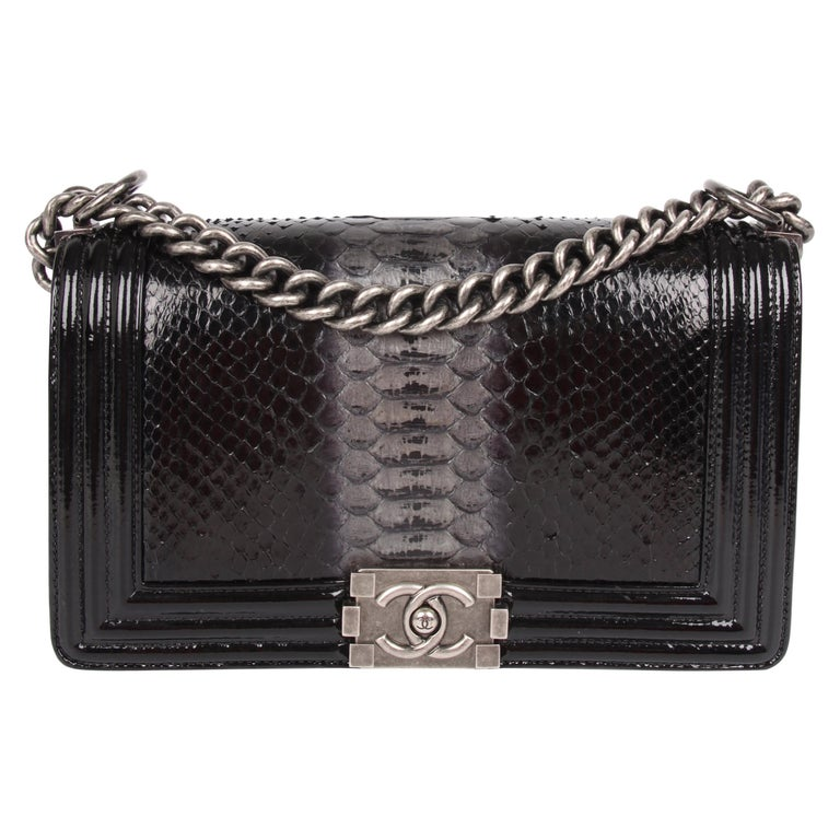 48f8a0dec7e5 Chanel Le Boy Bag Python Leather Medium - black For Sale at 1stdibs