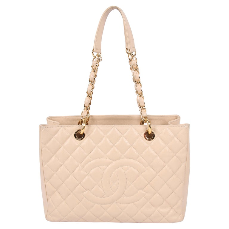 Chanel Grand Shopper Bag - beige caviar leather    For Sale