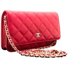 CHANEL Red Pink WOC Wallet On Chain Shoulder Crossbody Bag Clutch