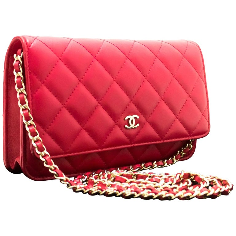 ca69ab60c90f CHANEL Red Pink WOC Wallet On Chain Shoulder Crossbody Bag Clutch For Sale
