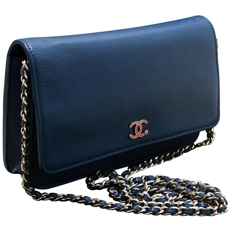 CHANEL Blue Caviar WOC Wallet On Chain Shoulder Crossbody Bag SV For Sale