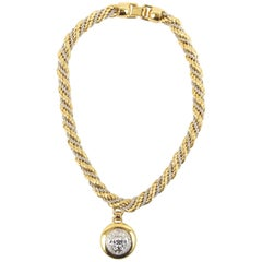 Gianni Versace 1990 gold and silver metal rope necklace with silver pendent