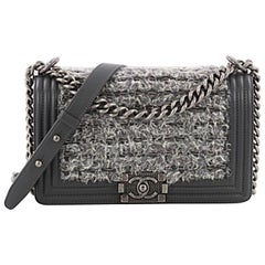 Chanel Boy Flap Bag Braided Tweed Old Medium
