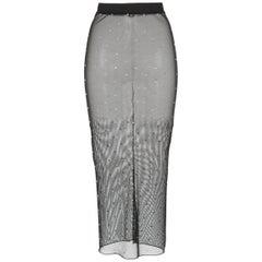 Alessandra Rich Crystal Mesh Midi Skirt
