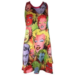 S/S 1991 Gianni Versace Marilyn Monroe James Dean Silk MOD Micro Mini Dress