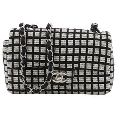Chanel Classic Single Flap Bag Printed Canvas with Ribbon Tweed Small