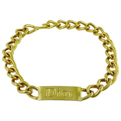 Christian Dior by John Galliano Chunky ID Tag Curb Necklace