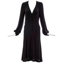 Alexander McQueen Black Silk Button Front Long Sleeve Dress, Spring 2007