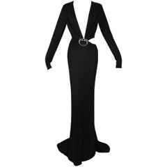 F/W 2004 Gucci by Tom Ford Runway Black Plunging Dragon Gown Dress