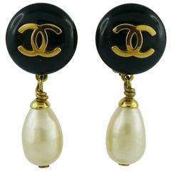 Chanel Vintage Pearl Dangling Earrings Fall 1994
