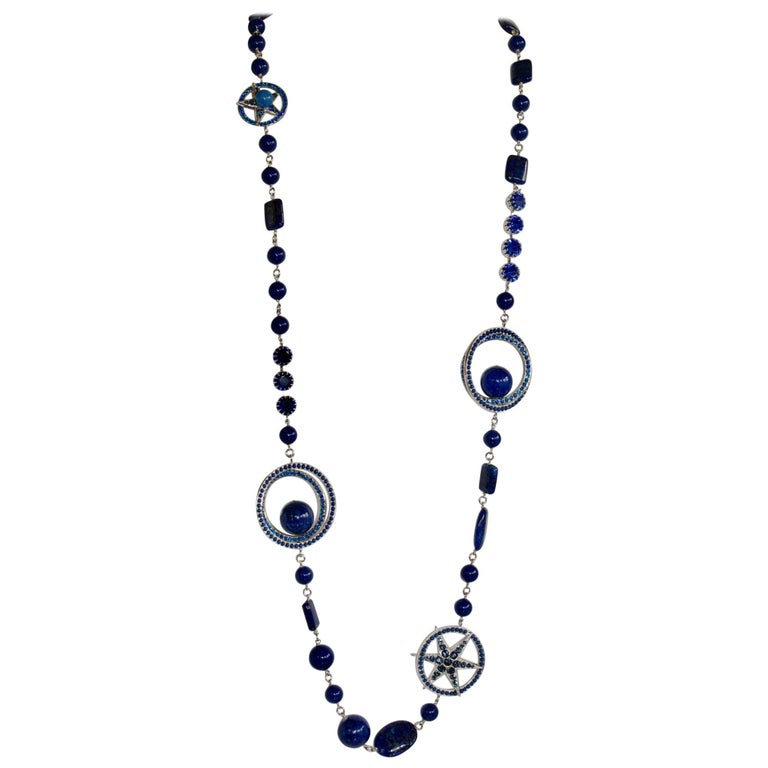 Philippe Ferrandis Blue Swarovski Crystal Long Necklace For Sale