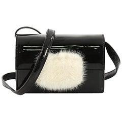 Saint Laurent Lulu Bunny Shoulder Bag Patent with Fur Sma