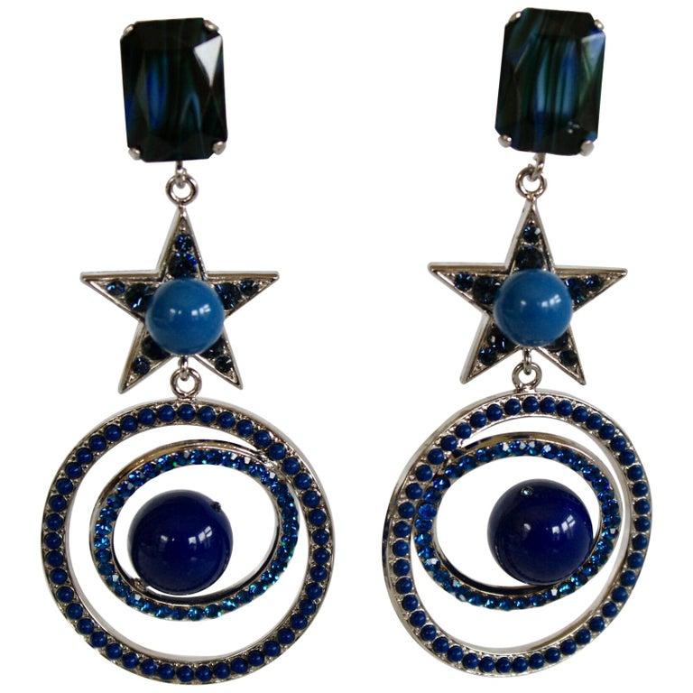 Philippe Ferrandis Blue Swarovski Crystal Star Clip Earrings For Sale