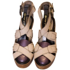52769d1c2c7 Chloe  Brown Shades Leather and Canvas Sandals at 1stdibs
