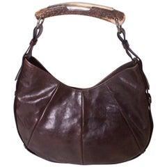Vintage Yves Saint Laurent Brown Leather Mombasa Bag