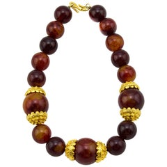 Early 1980s KJL Faux Amber Oversized Bead Necklace
