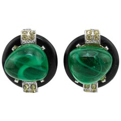 1980s KJL Faux Emerald  Cabochon Clip Earrings