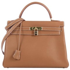Hermes Kelly Handbag Gold Togo with Gold Hardware 32