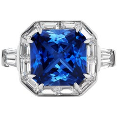 Synthetic Art Deco Style Square Sapphire Halo Style Sterling Silver Ring
