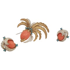 Jomaz Goldtone Coral, Turquoise and Crystals Brooch and Earrings