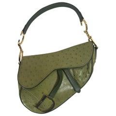 Christian Dior Green Ostrich Saddle Bag