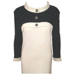 Chanel High & Low Black Boucle White Trimmed Long Sleeve Jacket 2014 Collection