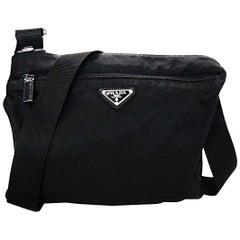 Prada Black Tessuto Nylon Flat Messenger Crossbody Bag W/ Front Zip Pocket