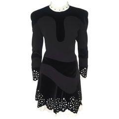 Alexander McQueen Black & White Multi Fabric Laser Cut 2012 Runway Dress