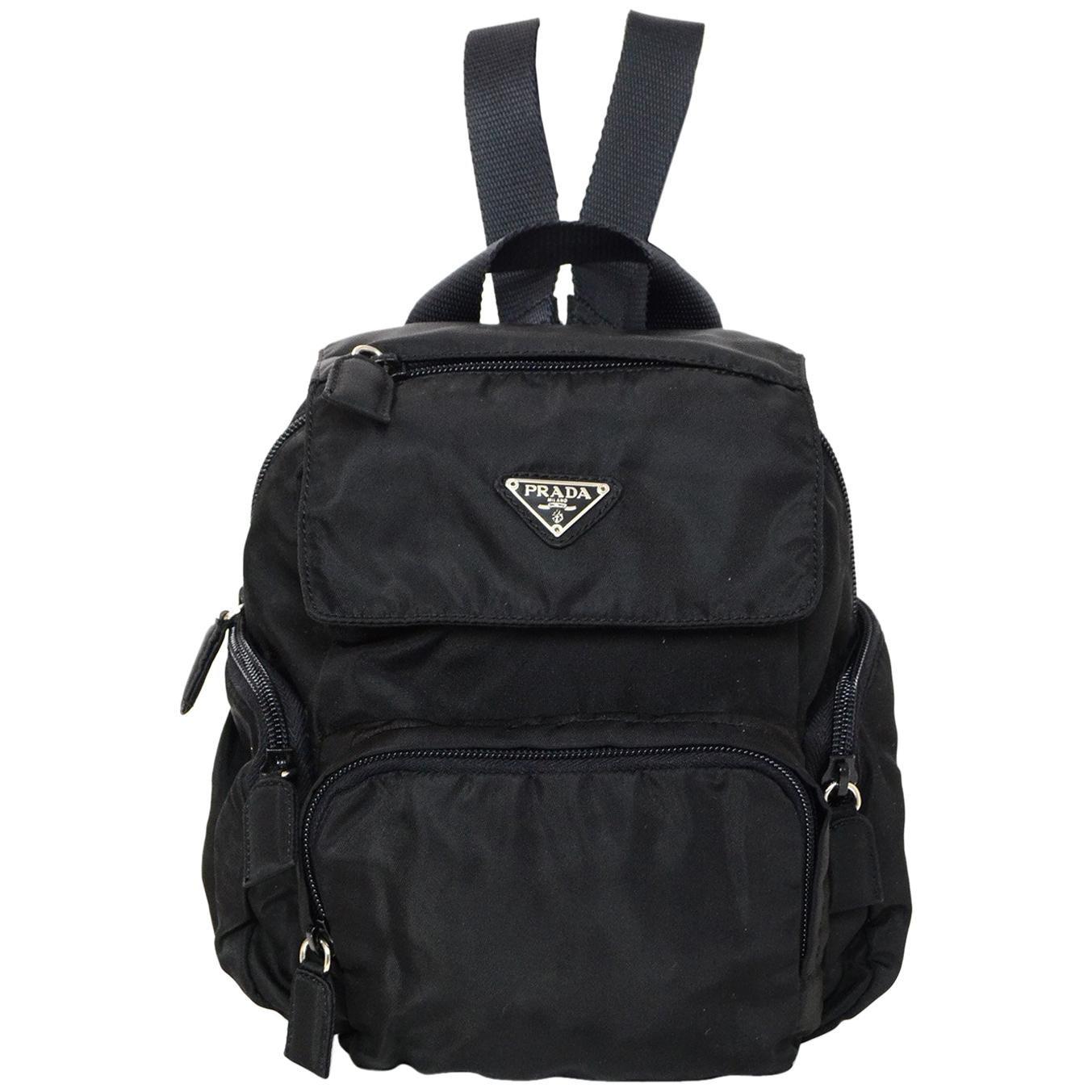 c8bc10915 ... promo code for prada black nylon mini backpack bag w zip pockets for  sale 9050f b20de