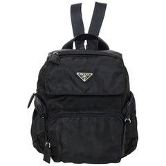 Prada Black Nylon Mini Backpack Bag W/ Zip Pockets