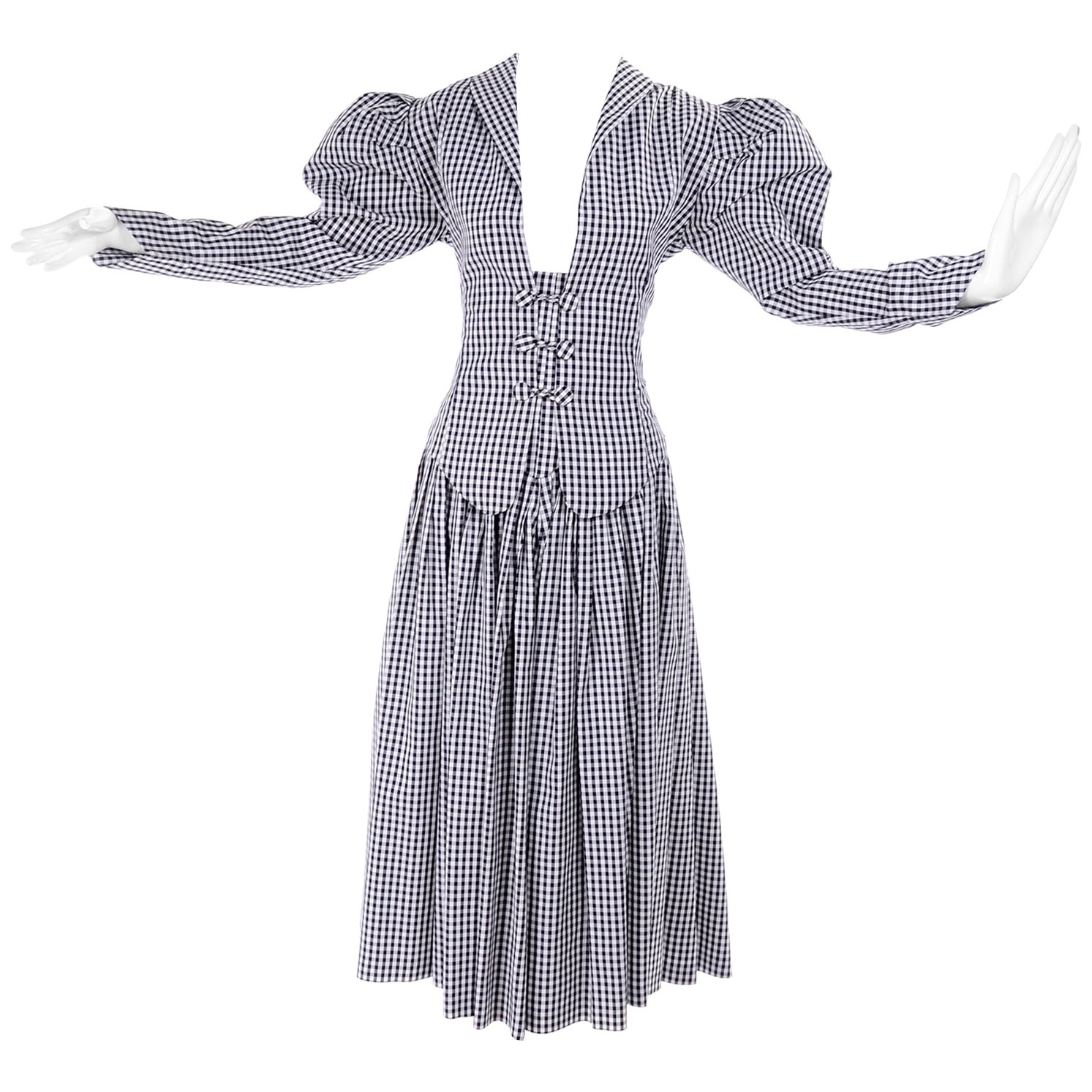 1980s Norma Kamali 2 Pc Victorian Dress in Black & White Check w Puff Sleeves