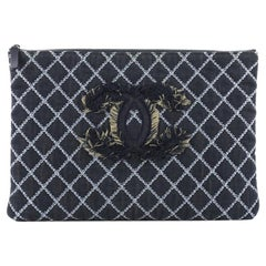 Chanel O Case Clutch Quilted Denim Large