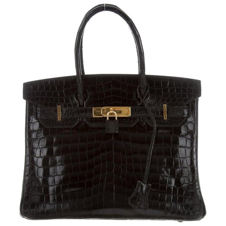 Hermes Birkin 30 NEW Rare Shiny Crocodile Top Handle Satchel Tote Bag in Box For Sale