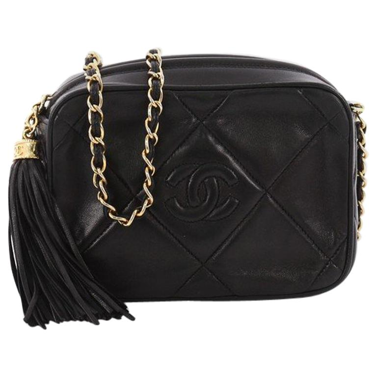 b24e82d9bd1e Chanel Vintage Diamond CC Camera Bag Quilted Leather Small at 1stdibs