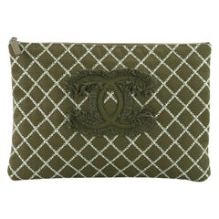 Chanel O Case Clutch Quilted Tweed Large