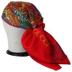 1980s Rare Gucci Tassel Pattern Silk Scarf